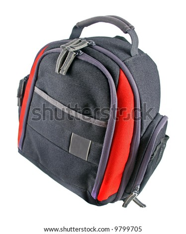 Camera bag with many pocket pouches and zippers for storage.