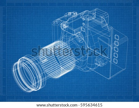 Camera blueprint 3d perspective stock illustration 595634615 camera blueprint 3d perspective malvernweather Gallery