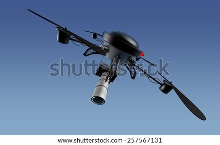Camera drone in a clear blue sky - stock photo