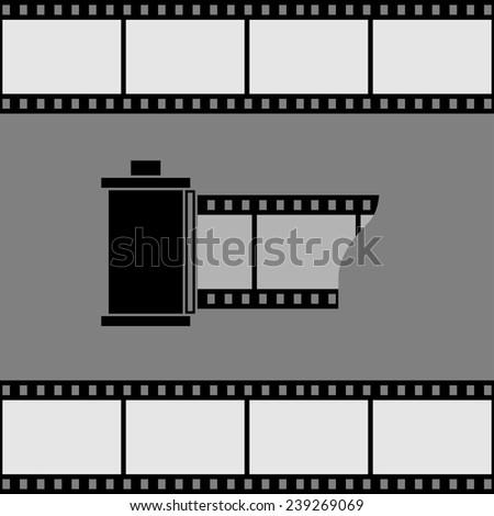 Camera film roll icon. - stock photo