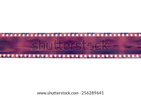Camera film strip with middle blur isolated on white background - stock photo