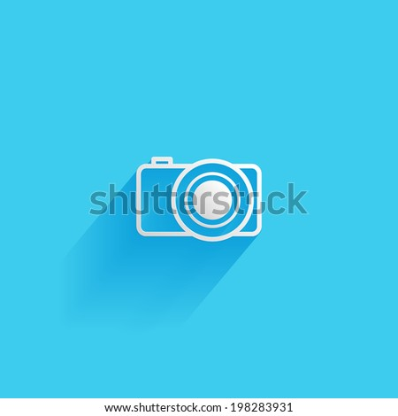 Camera, flat icon isolated on a blue background for your design - stock photo