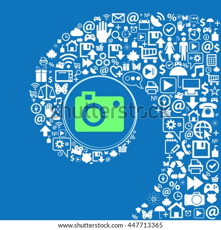 camera icon . Nice set of beautiful icons twisted spiral into the center of one large icon. illustration - stock photo