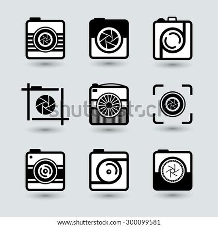 Camera icons set. Icons for photographers.  - stock photo