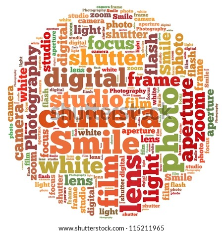 camera info-text graphics and arrangement concept on white background (word cloud) - stock photo