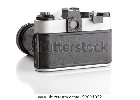 Camera isolated on white background - stock photo