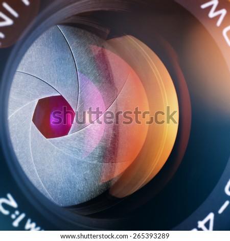 camera lens - stock photo