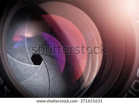 Camera lens. - stock photo