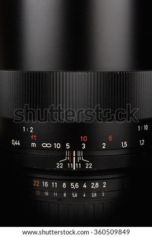 Camera lens close up: aperture and distance scale view - stock photo