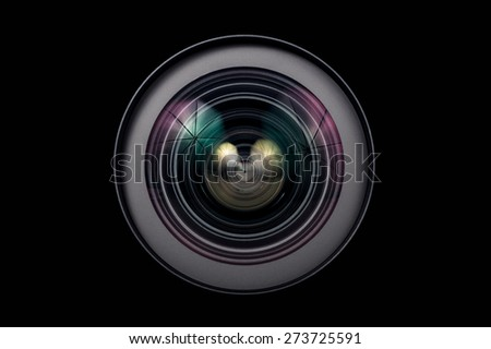 Camera Lens close up isolated - stock photo