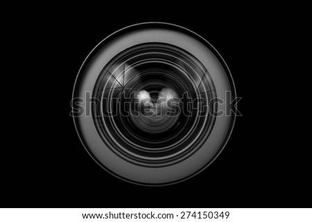 Camera Lens close up isolated - stock photo