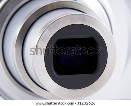 Camera lens front shot - stock photo