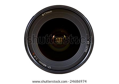 Camera lens front shot isolated on white background - stock photo