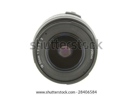 Camera lens front shot isolated on white background - stock photo