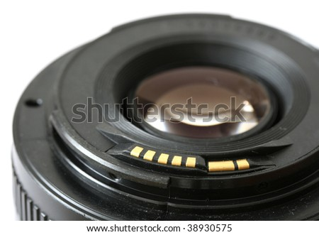 Camera lens isolated on white - stock photo