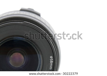 Camera lens macro shooting isolated on white background