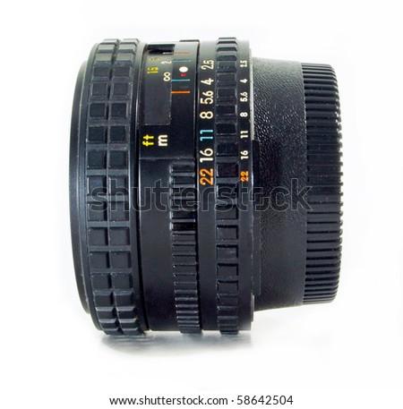 Camera Lens on isolate white background - stock photo