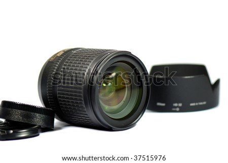camera lens on white background - stock photo