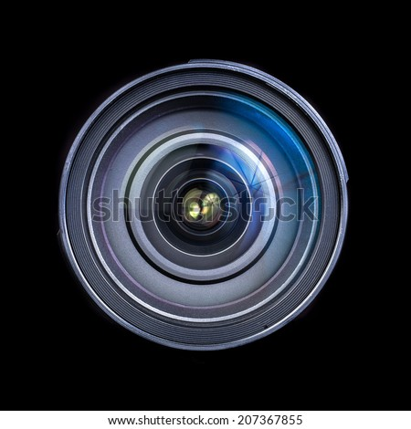 Camera Lens only isolated on black background