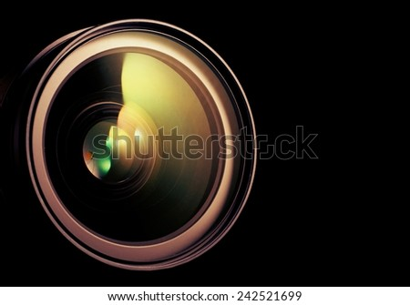 Camera lens. Retro stale. - stock photo