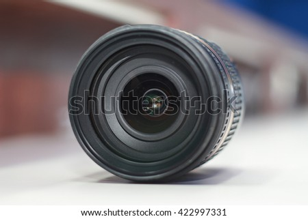 Camera lens.select focus.soft focus the field for background.