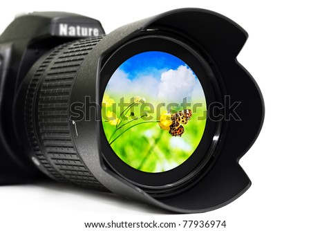 Camera lens with butterfly inside, isolated on white background - stock photo