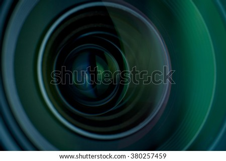 Camera lens with lens reflections.