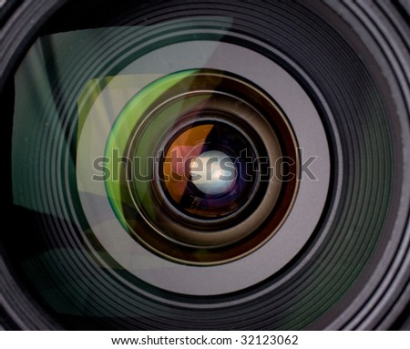 Camera lens with reflection closeup