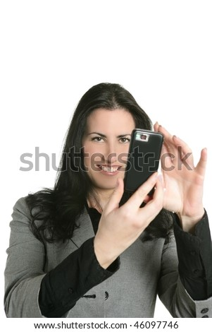 Camera of cell phone on woman hands shooting mobile snapshot - stock photo
