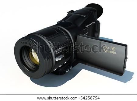 Camera on a white background - stock photo