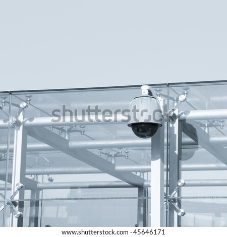 camera on the modern building outdoor. - stock photo