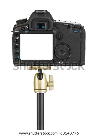Camera on tripod isolated on white background - stock photo