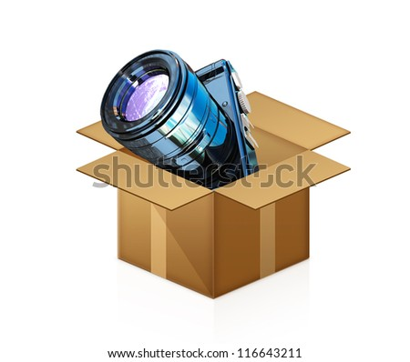 camera out of the box - stock photo