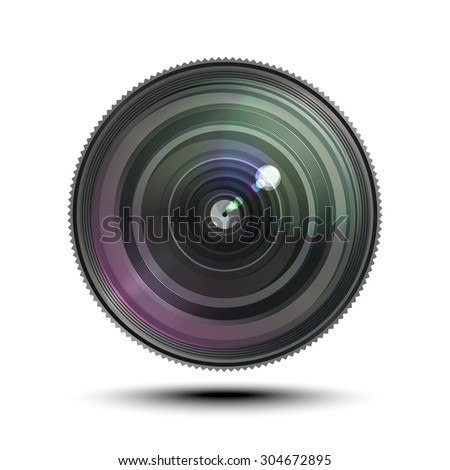 Camera photo lens on white background. Raster version - stock photo