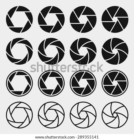 Camera shutter icons set. Aperture and photography, focus photo - stock photo