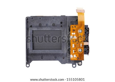 Camera shutter parts isolated on white background