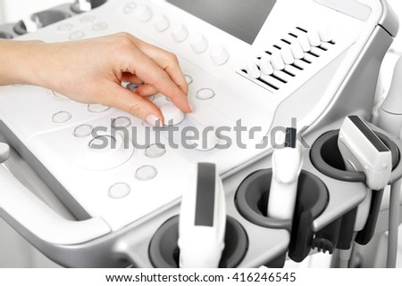 Camera sonogram, ultrasound. Ultrasound device for testing sonogram  - stock photo