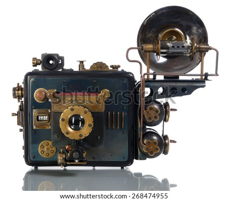 Camera steampunk on a white background.  - stock photo