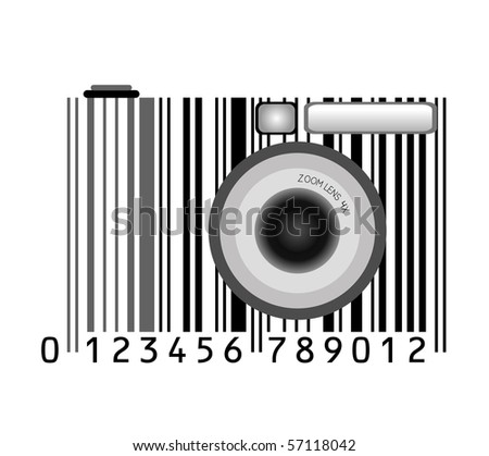 camera stylized with bar-code.raster
