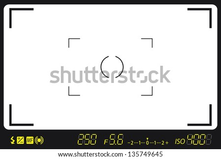 camera viewfinder with exposure and camera settings. - stock photo