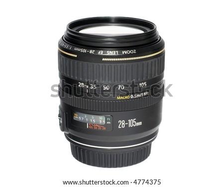 Camera zoom lens Isolated on white - stock photo