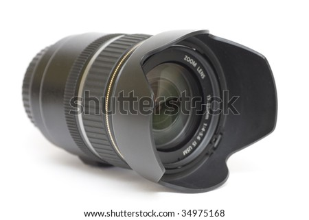 Camera zoom lenses, side view with hood on