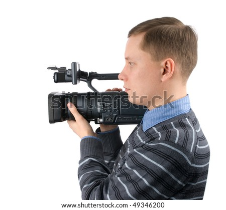 Cameraman isolated on a white background - stock photo