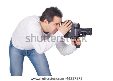 Cameraman isolated on white background - stock photo