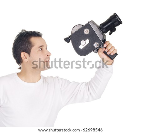 Cameraman isolated on white background - stock photo