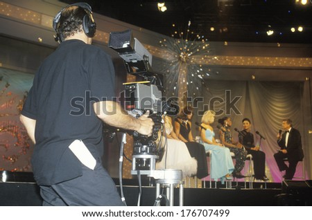 Cameraman Shooting Miss America Pageant Contestant Interview with Regis Philbin, Atlantic City, New Jersey