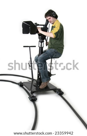 cameraman work with high-definition camcorder on the dolly - stock photo