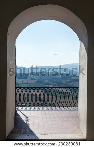 CAMERINO, ITALY - JULY 17, 2014: Camerino (Macerata Marches Italy): the historic town at morning. Court of the University