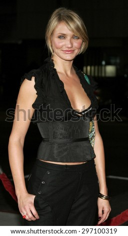 """Cameron Diaz attends the Los Angeles Premiere of """"In Her Shoes"""" held at the Academy of Motion Pictures Arts and Sciences in Beverly Hills, California, on September 28, 2005.  - stock photo"""