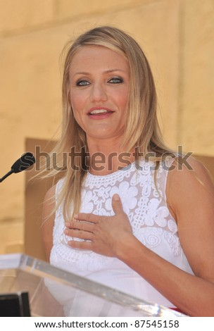 Cameron Diaz on Hollywood Boulevard where she was honored with the 2,386the star on the Hollywood Walk of Fame. June 22, 2009  Los Angeles, CA Picture: Paul Smith / Featureflash - stock photo